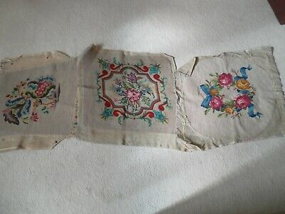 3 Vintage Hand Embroidery Needle Point Upholstrey Covers