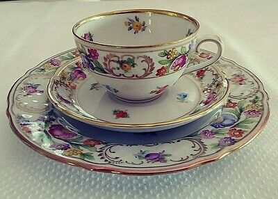 "Schumann Bavaria Dresden Germany US Zone ""Empress"" 3 piece Demitasse set lovely"