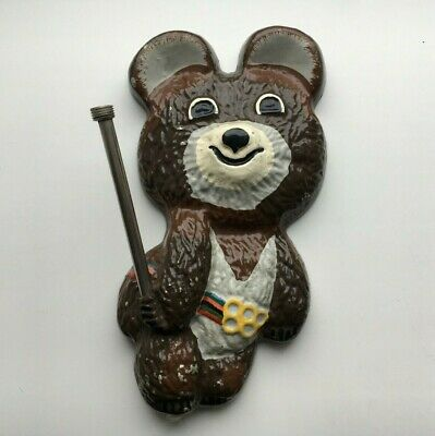 Rare Vintage souvenir wall Olympic Bear Moscow Russia Soviet USSR 1980s