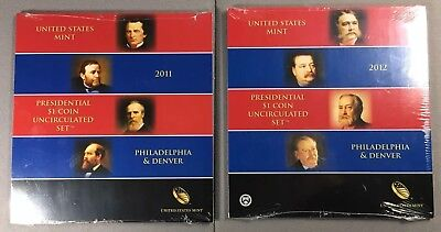 2011 & 2012 Us Mint Presidential $1 Coin Uncirculated P & D Set - Sealed