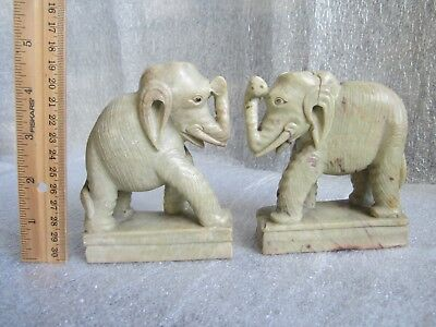 Pair of Antique Chinese Qing Dynasty Finely Carved Soapstone Elephant Figures