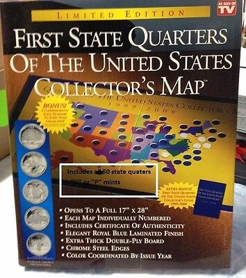 STATE QUARTERS ALL 50 QUARTERS COMPLETE SET COLLECTION w/display board 1999-2008