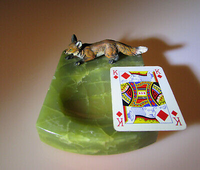 Vintage Cold Painted Fox and Green Onyx Pin Tray