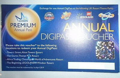 Merlin Annual Digipass Voucher Alton Towers/Chessington/Legoland/Thorpe Park