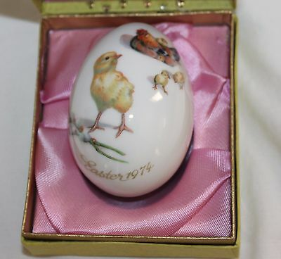 Vintage Easter 1974 Royal Bayreuth Germany Porcelain Hen Chicks Easter Egg Box