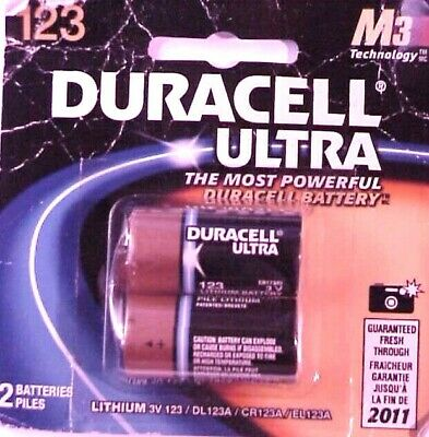 (2)TWO Duracell 3V 123/DL123A/CR123A/EL123A Ultra Lithium Batteries NEW EXP 2011