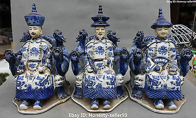 """12"""" Chinese White Blue Porcelain Ancient Three Emperor People Dragon Set Statue"""