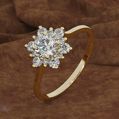 14K Gold Plated Gifts Jewelry Women Fashion Cubic Zirconia Snowflake Shaped Ring