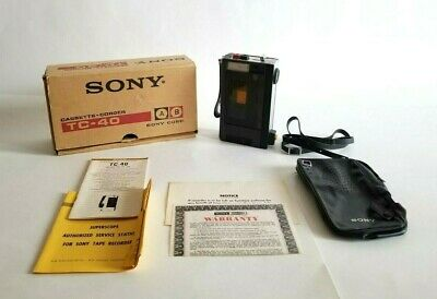 Vintage Sony TC-40 Cassette Recorder with warranty card original box Accessories