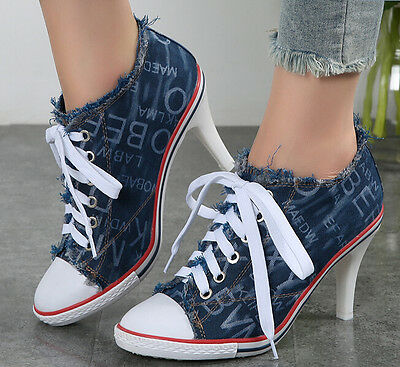 Womens Letters Denim Pointed Toe Pumps Shoes Girls Lace Up High Heel Ankle Boots