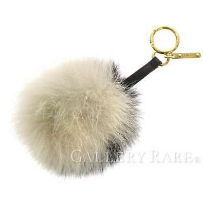 4b139daf5136 FENDI Bag Charm Fox Fur Leather Beige Black Pom Pom 7AR259 Authentic 5261468