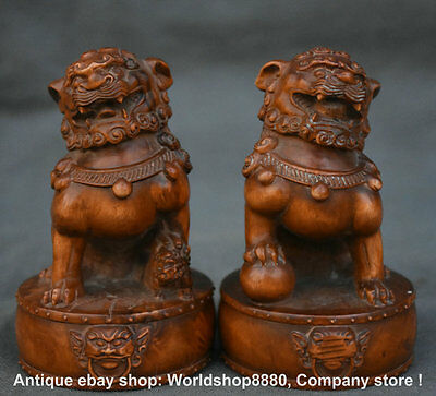 "4"" Rare Old Chinese boxwood Fengshui Foo Dog Guardion Lion on Drum Statue Pair"