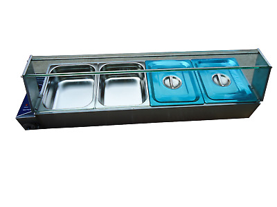 New S/steel Hot Food Warmer Bain Marie 4 X 1/2 Gn Tray+Poly Cover Glass Display