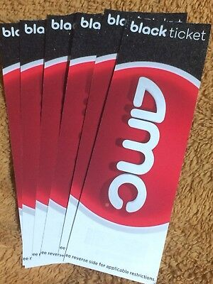 8 AMC BLACK Movie Tickets (Card Stock) No Expiration -- GREAT GIFTS!