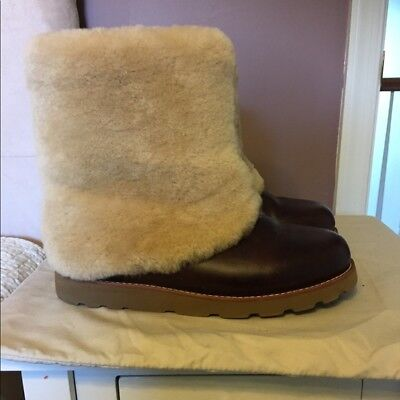 2a453e57d02 UGG AUSTRALIA PATTEN chestnut water- resistant leather cuff short boots  size 7 U
