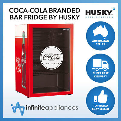 118L Officially Licensed Coca-Cola Undercounter Glass Door Bar Fridge by Husky