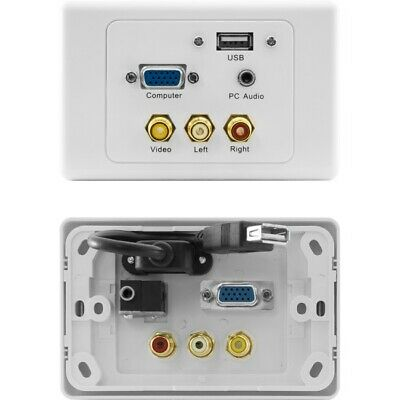New  New Pro2 Av Wall Plate Vga, Audio, Usb, Rca Board Room Home Theatre PRO1309