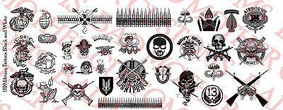 1//12 Scale Custom Tattoos Waterslide Decals Old School and Nautical