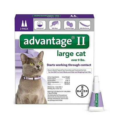 Bayer Advantage II Flea Prevention for Large Cats Over 9 lbs, 2 Months Supply