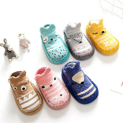 Baby Girls Boys Kids Anti-slip Cotton Floor Socks Infant Slipper Shoes Prewalker