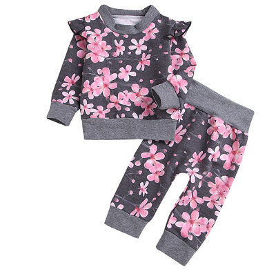 2pcs Newborn Kids Baby Girl Winter Clothes Floral Sweater Tops+Pants Outfits Set