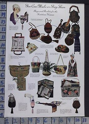 1919 Florence Cannon Craft Art Bag Basket Bead Upcycle Thrift Vintage Ad  By05