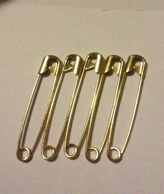 "Brass 5 Large Antique Vintage 3.5/"" Jumbo Giant Safety Pin Diaper Pins"