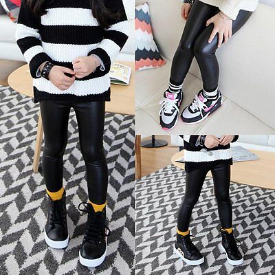 Toddler Baby Girls Leather Casual Pants Kids Stretchy Skinny Leggings Trousers