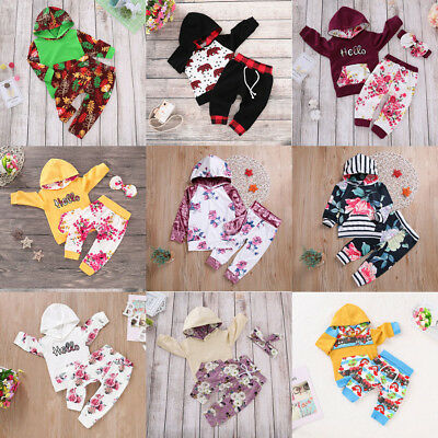 Newborn Toddler Kids Baby Boys Girls Outfits Clothes Set Hooded Coat Tops+Pants