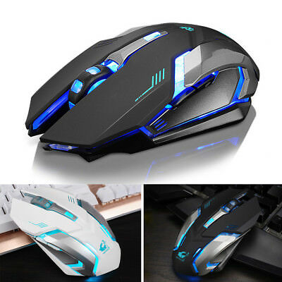 Rechargeable Wireless 1600DPI Gaming Mouse 2.4G Optical Gamer 6 Buttons LED Mice