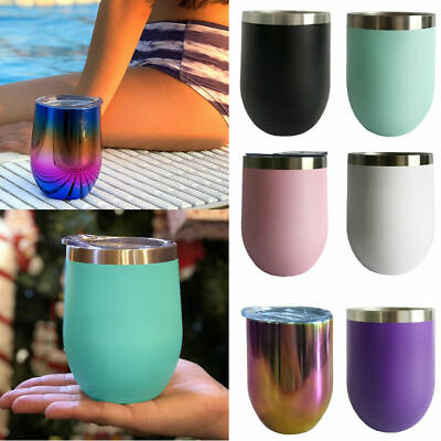 Stainless Steel Stemless Wine Glasses 12oz/350mL Insulated Metal Tumbler Cups TT