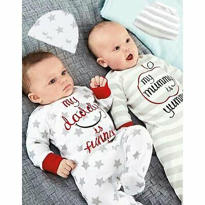 Newborn Kids Baby Boys Girls Infant Romper+Hat Jumpsuit Bodysuit Clothes Outfits