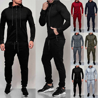 01f2f5e281c2 Mens Tracksuit Jogging Hoodie Coat Jacket + Trousers Pants Sports Sweat Suit  Set