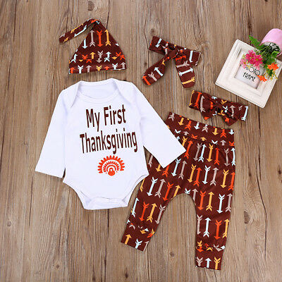 4PCS Newborn Kids Baby Boys Girls Outfits Clothes Romper Bodysuit+Long Pants Set