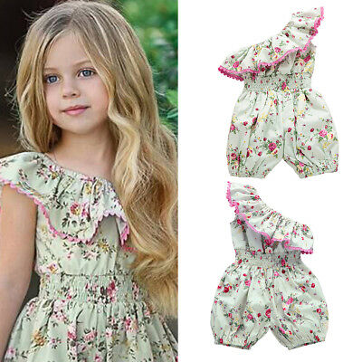 Toddler Infant Baby Girls Ruffle Floral Romper Bodysuit Jumpsuit Sunsuit Clothes