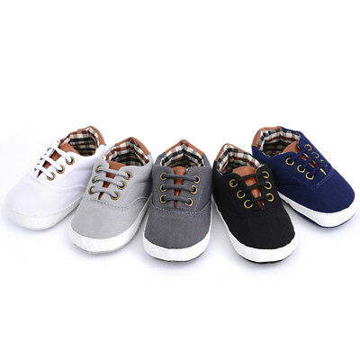 Newborn Baby Boys Girls Infant Toddler Soft Sole Crib Canvas Shoes Sneaker 0-12M