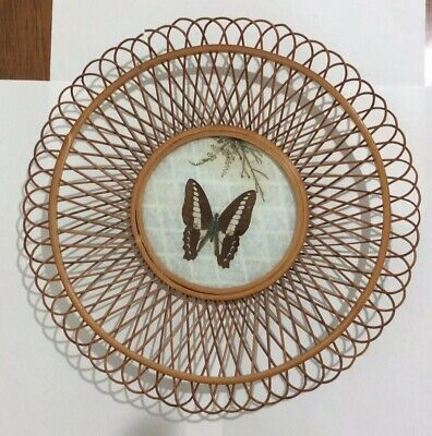 Vintage Butterfly Cane Plate/tray, Vintage Butterfly Cane Plate/tray