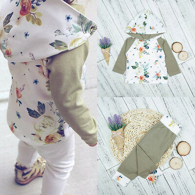 2pcs Newborn Kids Baby Boys Girls Hooded Sweater Tops+Pants Outfits Clothes Sets