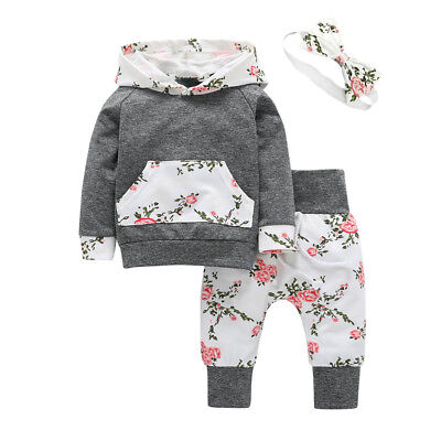 3PCS Newborn Infant Baby Girl Hooded Sweater Tops+Long Pants Outfits Clothes Set