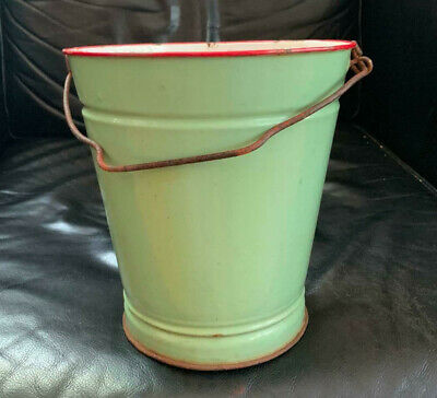 Cute Vintage GREEN & RED ENAMEL BUCKET gardening laundry rustic farm house style
