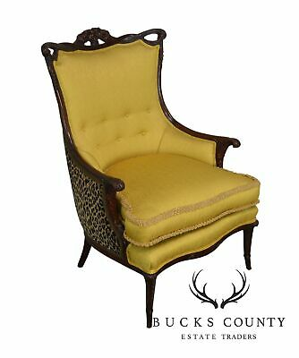 Grosfeld House 1940's Yellow & Leopard Print Carved Mahogany Fire Side Chair