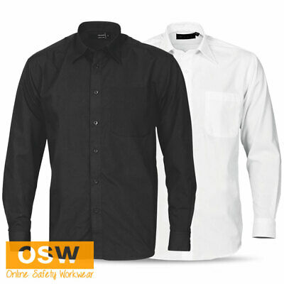 Mens Black/White Poly-Cotton Office Work Business Long Sleeve Pocket Shirt