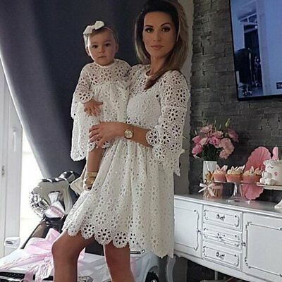 Mom&Me Baby Lady Women Lace Matching Mother Family Dress Clothes Dresses White