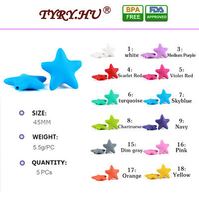 5PCs 45MM DIY Star Silicone Loose Beads Baby Teether Teething Chewable Pendant