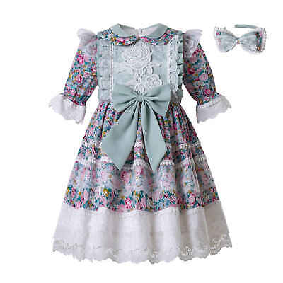 Kids Girls Muslin Embroidery Floral Print Midi Dress Party Pageant Spring Outfit