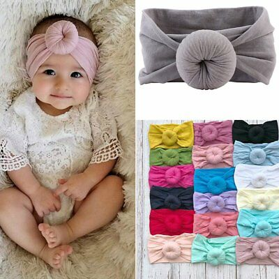 Cute Girls Baby Toddler Turban Solid Headband Hair Band Bow Accessories Headwear