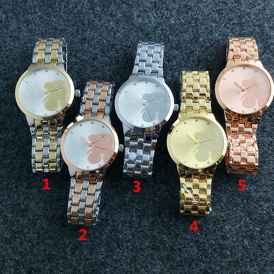 New Fashion Women's Dress Stainless steel Wristwatch Number Cute bear Watch