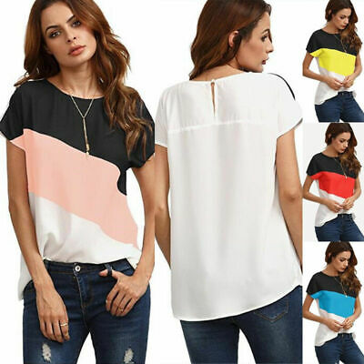 UK Womens Summer Short Sleeve T Shirt Tops Ladies Casual Loose Patchwork Blouse