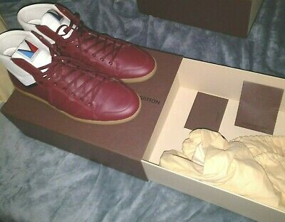 Louis Vuitton Spitfire Sneakers 2013 Barely Used Red Bordeaux Leather Size 11 Us