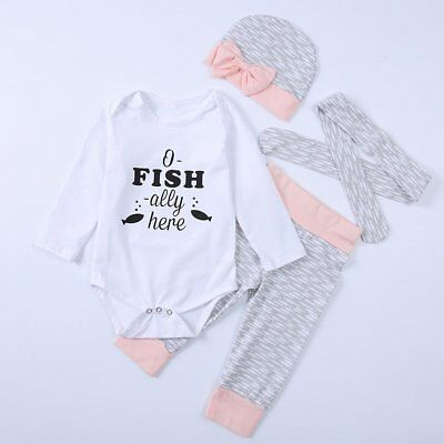 4PCS Newborn Baby Boys Girls Outfits Clothes Romper Jumpsuit Bodysuit+Pants Set